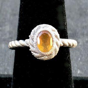 Judith Ripka Sterling Silver Citrine Textured Ring